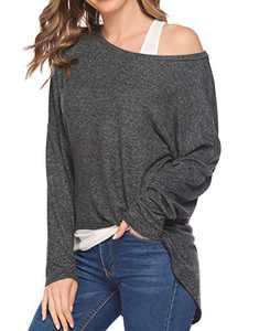 Chigant Women's Batwing Long Sleeve T Shirt Off Shoul Pullover Tops Oversized Shirt Dark Gray Medium