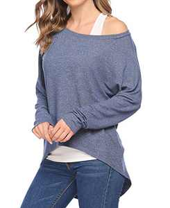 Chigant Women's Batwing Long Sleeve T Shirt Off Shoul Pullover Tops Oversized Shirt Navy Blue Small
