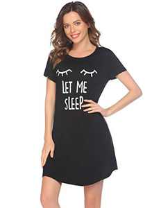 Evanhome Nightgown for Women Cute Print Sleep Shirt Short Sleeve Scoop Neck Sleepwear (Black,Small)