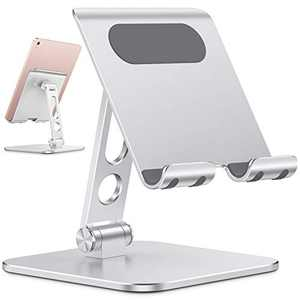 Upgraded Adjustable Tablet Stand Holder - OMOTON iPad Stand Holder with Heavier Base, Heavy Duty Aluminum Foldable Desktop Tablet Dock Compatible with iPad Air/Pro/Mini and Phones, Silver