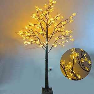 Birch Tree Lighted, Maple Tree with Lights 6ft 128LED Warn Lighted Artificial Fall Tree Christmas Decorations Thanksgiving Decor for Bedroom Party Wedding Office Home Outdoor and Indoor Use
