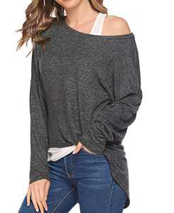 Chigant Women's Batwing Long Sleeve T Shirt Off Shoul Pullover Tops Oversized Shirt Dark Gray Small