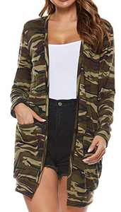 SimpleFun Women's Casual Long Sleeve Open Front Comfy Camo Duster Cardigans Green XL