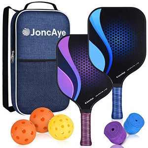 JoncAye Graphite Pickleball Paddle Set 2 Pack, Pickleball Set with Lightweight Pickleball Rackets, 3 Pickleball Balls Outdoor Indoor, Pickleball Bag, Pickleball Grip Tapes, Cushion Grip