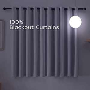 Naturme Room Darking Curtains for Bedroom- Gray Curtains 2 Panels Sets 84 Inch - Upgraded 100% Heat Blocking Curtains
