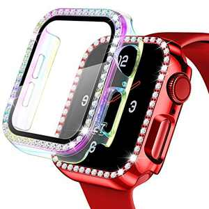 【2 Pack】 Easuny Hard Case Cover Design for Apple Watch 38mm Series 3 2 1 - Bling Diamond with Built-in Glass Screen Protector - Overall Protective Accessories for iWatch Women, Red/Colorful