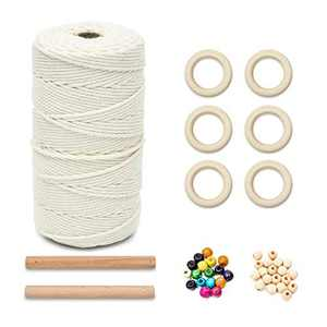 DIY Macrame Kits for Starters, 3mm 219Yards Natural Cotton Macrame Cord, with 40pcs Wooden Beads, 6pcs Wooden Rings, 2pcs Wooden Sticks for Wall Hanging, Plant Hangers, Crafts, Knitting