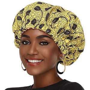 Satin Bonnet for Women, Silk Hair Bonnet for Black Women Hair Cap for Sleeping Cap Satin Hair Ankara Adjustable Bonnets