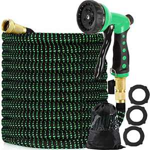 "Vhccirt Expandable Garden Hose 75 ft - Flexible Gardening Water Hose Pipe with 8 Function Spray Nozzle, 3/4"" Solid Brass Fittings, Durable 3 Layer Latex Core, Extra Strength Fabric 3750D"