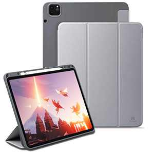 Holidi Case for iPad Pro 11 2021/2020/2018 Case (2nd/3rd Gen), iPad Pro 11 inch Case with Apple Pencil Charging Holder, Auto Sleep/Wake, Trifold Stand. Slim Lightweight Protective Case Cover. Gray