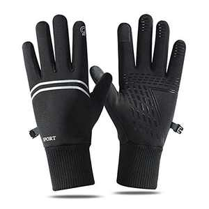 Thin Athletic Gloves for Men and Women,Winter Warm Light Weight Gloves Touch Screen Anti-Slip Water Resistant (Black, XL)
