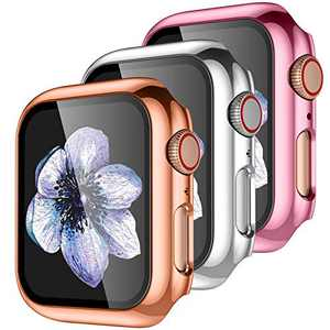 【3 Pack】 Easuny Hard Case Cover Design for Apple Watch Series 6 SE Series 5 4 44mm with Built-in Glass Screen Protector - Full Coverage Accessories for iWatch Women Men,Rose-Gold Rose-Pink Silver