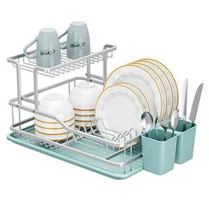Dish Drying Rack,DISPLAY Dish Racks with Drainboard for Kitchen Counter (Sliver)