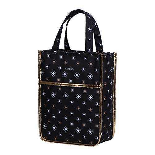 Insulated Reusable Lunch Tote Bag Durable lunch Box Container for Women Adult Men (LD191107-BLACK)