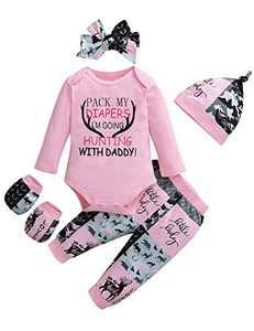 Shalofer Newborn Baby Girl Clothes Funny Letter Printed Bodysuit Coming Home Outfit for Baby Girl (Pink,0-3 Months)