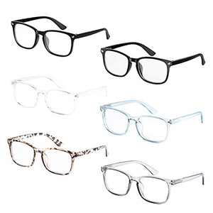 Axot Reading Glasses Blue Light Blocking 6 Pack Fashion Square Eyeglasses Anti Glare/Eye Strain/UV Ray Filter Computer Screen Readers Women Men(2.0x)