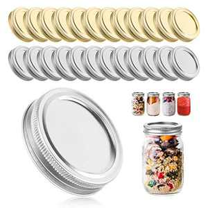 24 Sets Canning Jar lids and rings,NAVOROGE Split-Type Lids for Mason Jars lids,70MM Regular Mouth Mason Jar Lids Leak Proof, Tinplate Metal Wide Mouth Canning Jar Lids for Canning,Pickling, Freezing