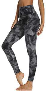 High Waisted Leggings for Women - Butt Lift Soft Tummy Control Printed Pants Pattern Tights for Workout Cycling (Black Diamond Dye, Small-Medium)