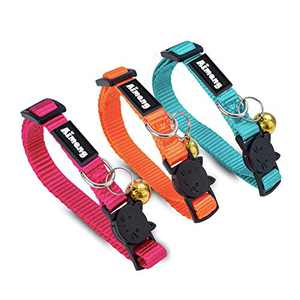 Kitten Collar with Bell, Breakaway Cat Collar for Cute Girl Adjustable Size Nylon Colorful Pet Collar Red, Blue,Black,Pink, Orange, Sky Blue Small Animal Collars (3 Pieces)