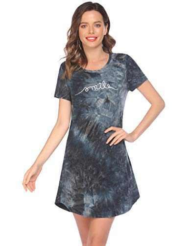 Evanhome Nightgown for Women Cute Print Sleep Shirt Short Sleeve Scoop Neck Sleepwear (PAT4,Small)
