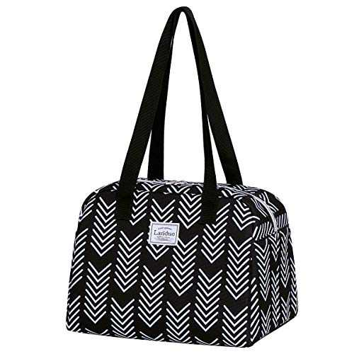 Insulated Reusable Lunch Tote Bag Durable lunch Box Container for Women Adult Men (black)