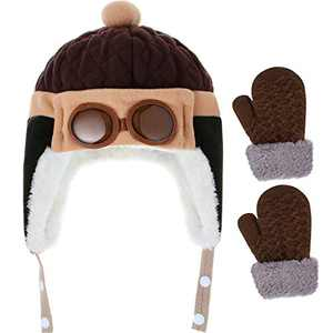 SATINIOR Earflap Beanie Hat Winter Warm Cartoon Cap and Winter Mitten Gloves Knit Thick Thermal Gloves for Toddlers Baby Girls Boys, Brown, 10 months to 4 years old