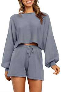 NENONA Women's 2 Piece Knit Sweater Pajamas Sets Solid Pullover Sweatsuit Crop Top Shorts Sleepwear with Pockets(Grey-XS)
