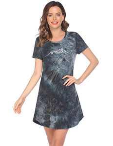 Evanhome Nightgown Sleeping Short Sleeve Sleep Dress Cute Print Night Shirts Comfy Sleepwear (PAT4,X-Large)