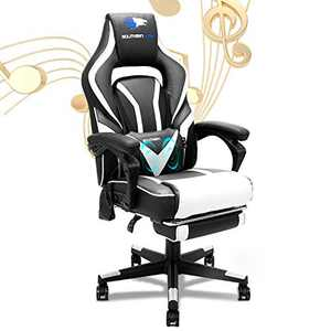 SOUTHERN WOLF Gaming Chair with Bluetooth Speakers Ergonomic Reclining Home Office Chair with Footrest Racing Video Game Chair with Lumbar Massage Support PC Computer Desk Chair for Adult Teens White