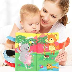 kyliandi Nontoxic Fabric Soft Baby Cloth Books,Ideal Newborn Developmental Toys for 24 Month Infants ,Fun Early Development Interactive Toys,Gift for Baby Girl and Boy (Forest)