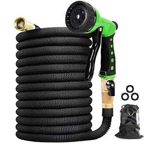 "Vhccirt Expandable Garden Hose 75FT - Flexibility Water Hose Pipe with 8 Function Spray Nozzle, 3/4"" Solid Brass Fittings and 3 Layer Latex Core, Lightweight No-Kink Garden Hose Pipes"