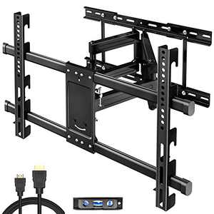 """TV Wall Mount for Most 32-80 inch Flat Screen/Curved TVs, Full Motion TV Mount Bracket Dual Swivel Articulating Tilt 6 Arms,Max VESA 600x400mm, Holds up to 110 lbs, Up to 24"""" Wood Stud"""