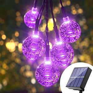 Halloween Solar Globe String Lights - 36Ft 60 Led Purple Solar Globes Solar Powered Bubble Crystal Ball String Lights 8 Mode Waterproof Patio Lights Solar For Garden, Patio, Gazebo, Yard, Party, Decor