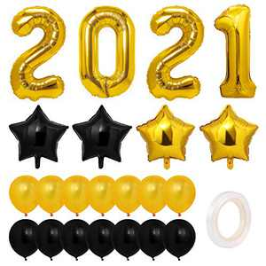 Toyvian New Years Eve Party Supplies 2021 Balloons- Pack of 23,Happy New Year Decorations 2021Graduation 2021,Large Size, Digital Foil Balloon,Latex Balloons, Star Foil Balloons