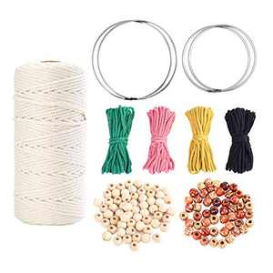 109 Yards 3mm Macrame Cord Cotton Rope with 4 Colors Colored Cotton Rope 100pcs Wood Beads and 4pcs Iron Macrame Ring for Making Plant Hangers Wall Hanging(109 Pieces Totally)