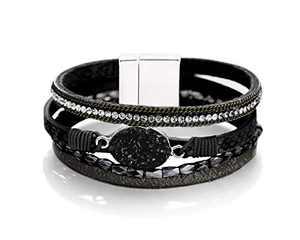 Fesciory Leopard Bracelet for Women Wrap Multi-Layer Leather Bracelet Magnetic Clasp Cuff Bangle Jewelry(Black Stone(Short))
