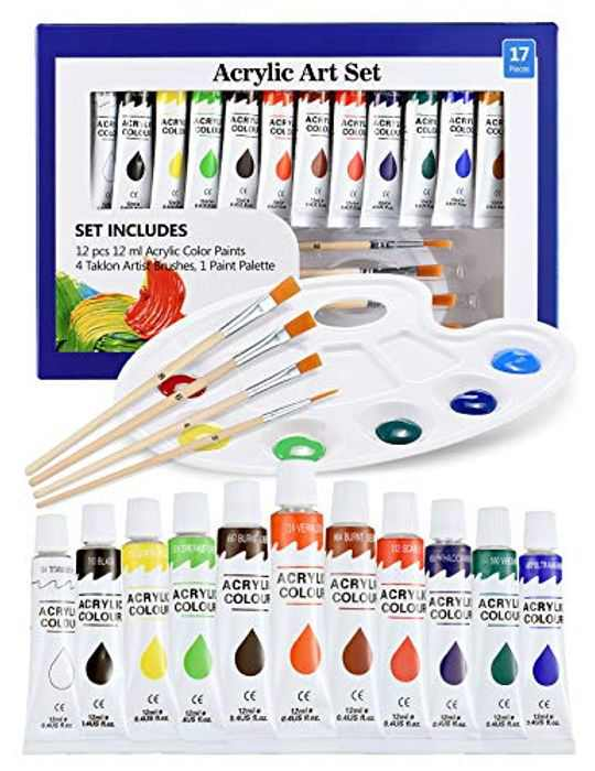 ATMOKO Acrylic Paint Set, 17PCS Paint Set with 12 Paint Tubs, 4 Paintbrushes,1 Palette, Work on Canvas, Wood, Ceramic, Fabric, for Kids Beginner