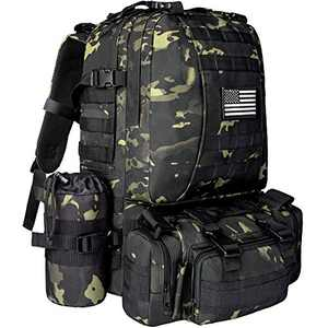 NOOLA Military Tactical Backpack Army Assault Pack Built-up Rucksack Molle Bag Black Multicam