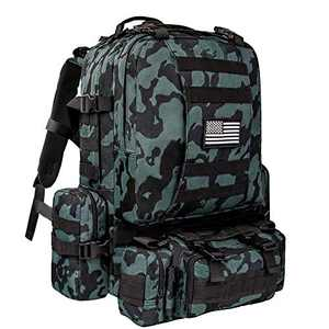 CVLIFE Tactical Backpack Military Army Rucksack Assault Pack Built-up Molle Bag Black Multicam