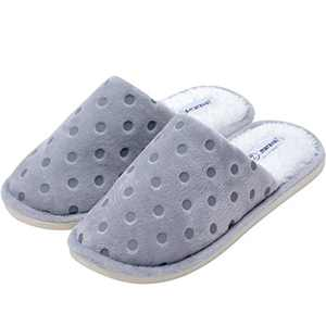 Amaravali Women's Cozy Memory Foam Slippers, Warm Fluffy Lining, Indoor Outdoor Anti-Skid Sole. AMFW211 Grey 5-6