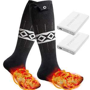 LEBOO Heated Socks for Men Women, 5000mAh Electric Rechargeable Batttery Powered Socks - Up to 18 Hours Heating 4 Heat Settings Thermal Socks Foot Warmer for Outdoor Running Hunting Fishing Skiing