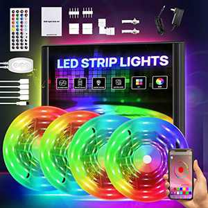 Smart LED Strip Lights 65.6ft, RGB Light Strip Kits with APP Control and Remote, 5050 SMD 12V DIY Color Changing LED Lights, LED Tape Lights for Bedroom Kitchen Cabinet TV Bar Party 65.6FT