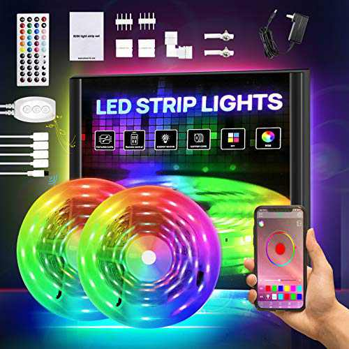 Smart LED Lights for Bedroom, RGB Light Strip Kits with APP Control and Remote, 5050 SMD 12V DIY Color Changing LED Lights, LED Tape Lights for Bedroom Kitchen Cabinet TV Bar Party 32.8FT