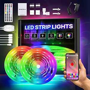Smart LED Lights for Bedroom, RGB Light Strip Kits with APP Control and Remote, 5050 SMD 12V DIY Color Changing LED Lights, LED Tape Lights for Bedroom Kitchen Cabinet TV Bar Party 32.8FT
