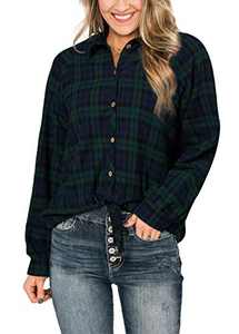 Avanova Womens Long Sleeve Button Down Plaid Shirt Tie up Knot Front Blouse Top Green Small