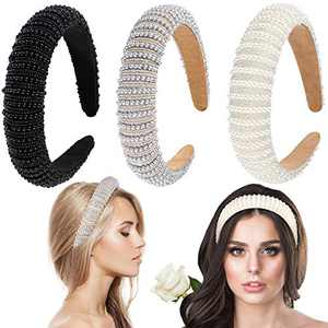 3 Pieces Rhinestone Padded Headband Crystal Rhinestone Wide Headband Padded Glitter Hairband Wide Hair Hoops Wedding Headwear Accessories for Women Girls Party Supplies (Classic Style)