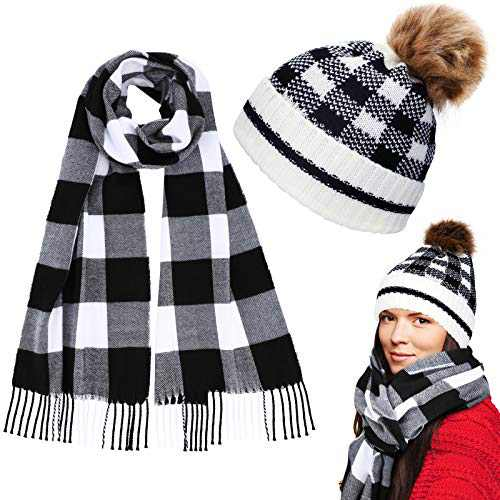 2 Pieces Christmas Buffalo Plaid Knit Scarf and Hat (Adult Size)