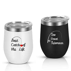 One Great Fisherman Best Catch Wine Tumbler Set of 2, Engagement Wedding Anniversary Tumbler for Couples Boyfriend Girlfriend Him or her, 12 Oz Insulated Stainless Steel Wine Tumbler
