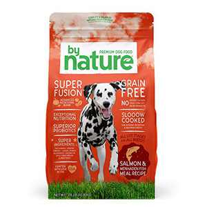 By Nature Pet Foods Grain Free Dog Food Made in USA [Grain Free Dry Dog Food with Superfood Ingredients for Food Sensitivities and Immune Health], Salmon & Menhaden Fish Meal Recipe, 24 lb. Bag