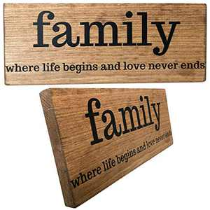 Let the Fun Begin Family Wood Sign for Wall Art Gift, Rustic Home Decor Gifts for Family Friends, Signs with Sayings (Family No Year Brown)